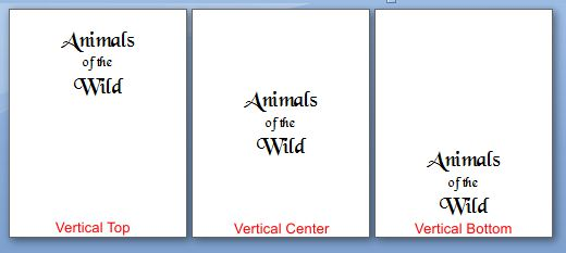 Microsoft Word 2007: Vertical Alignment example