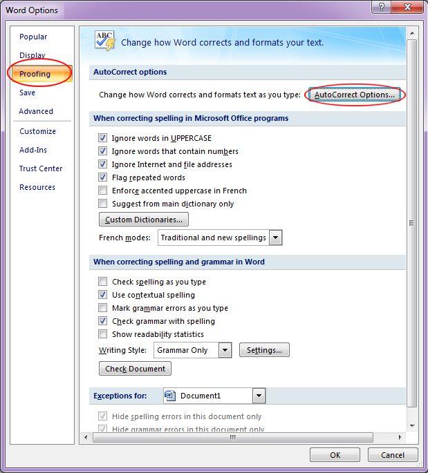 Microsoft Word 2007: Word Options dialog box