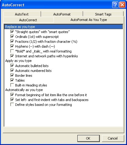 Microsoft Word Help: AutoFormat as you type tab