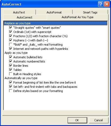 Microsoft Word Help: AutoFormat as you type tab