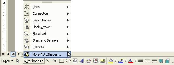 Microsoft Word Help: AutoShapes button
