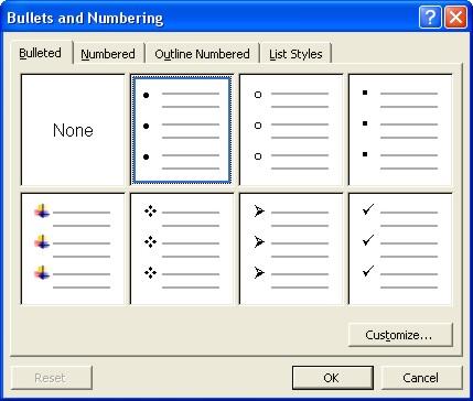 Microsoft Word Help: Bulleted tab dialog box