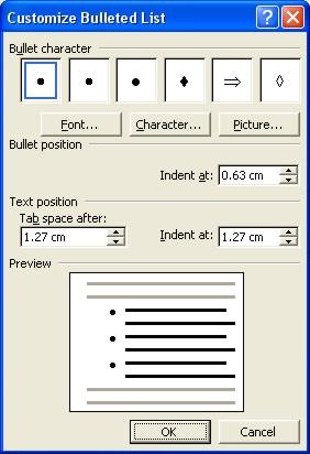 Microsoft Word Help: customize bulleted list dialog box