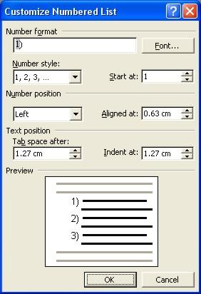 Microsoft Word Help: customize numbered list dialog box