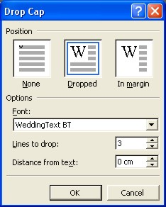 Word Drop Cap dialog box