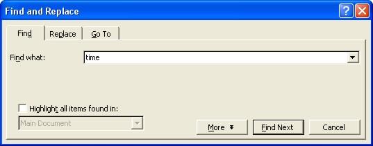 Word Finder dialog box 1