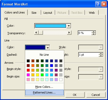 Microsoft Word Art: Format Word dialog box for Line color