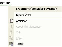 Spelling Word: grammar shortcut menu