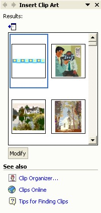 Microsoft Word ClipArt: Insert Clip Art task pane with images