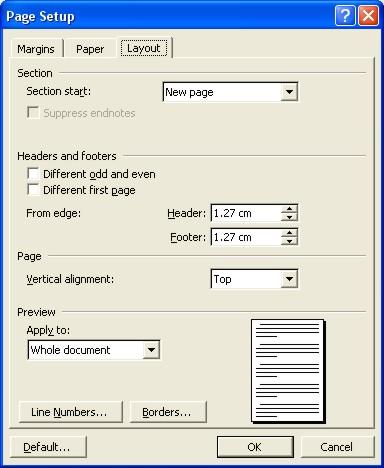 Microsoft Word Help: Page Setup dialog box - Layout tab