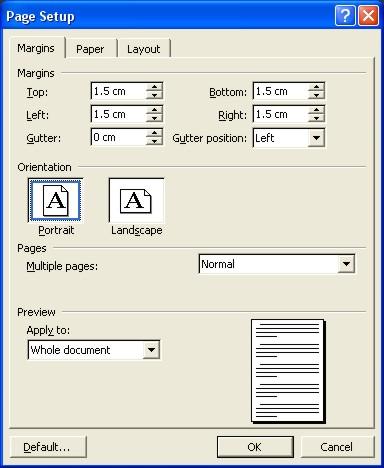 Microsoft Word Help: Page Setup dialog box - Margins tab