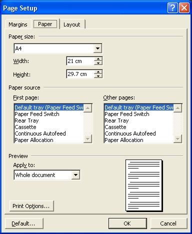 Microsoft Word Help: Page Setup dialog box - Page tab