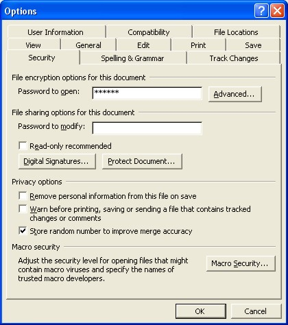 Microsoft Word Password dialog box