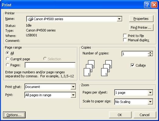 Microsoft Word Help: Print dialog box