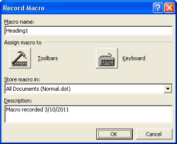 Word Macros: record macro dialog box