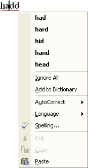 Spelling Word: spelling shortcut menu