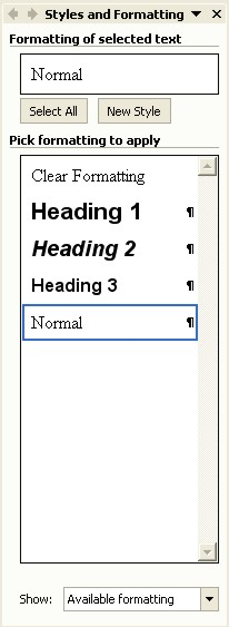 Microsoft Word Help: Styles and Formatting task pane