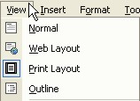 Microsoft Word Help: View menu