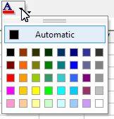 Color palette for Excel content: Font Color button