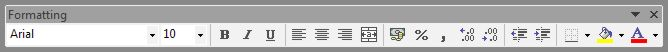 Microsoft Office Excel: Formatting toolbar