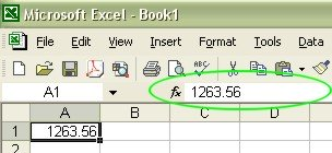 Learning Excel: formula bar example