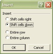 Excel Worksheets: Insert dialog box