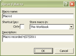 Excel Macros: Record Macro dialog box