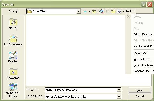 Excel Password: Save As dialog box