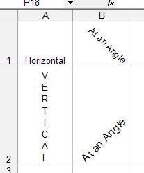 Mirosoft Office Excel: Text Direction example 1