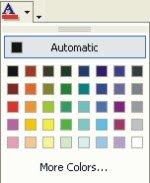 Microsoft Word Fonts: font color drop-down list box