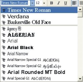 Microsoft Word Fonts: font drop-down list box