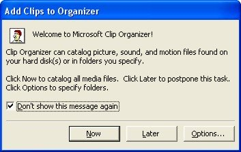 Microsoft Word ClipArt: Add clips to organizer dialog box