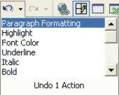 Microsoft Word Help: undo action list
