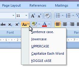 Microsoft Word 2007: change case button