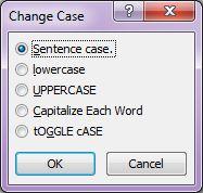 Microsoft Word 2007: Change Case dialog box
