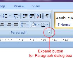 Microsoft Word 2007: Expand button for Paragraph dialog box