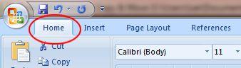 Word 2007 Tutorial: Home tab button on ribbon