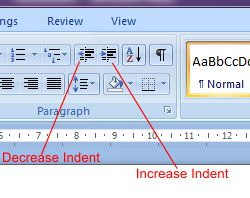 Microsoft Word 2007: Indent buttons
