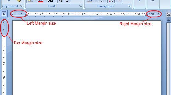 Microsoft Word 2007: Margin Size example