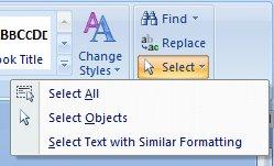 Word 2007 Tutorial: Select All drop-down menu