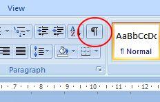 Microsoft Word 2007: Show/Hide button