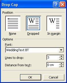 Word Drop Cap dialog box