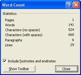 Word Count: Word Count dialog box - screenshot 2