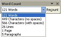 Word Count toolbar
